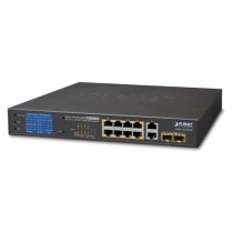 Planet 8-Port 10/100/1000T 802.3at PoE + 2-Port 10/100/1000T + 2-Port 1000X SFP Ethernet Switch with PoE LCD Monitor