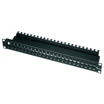 "Telegartner  19"" Modular Patch Panel Empty 1HU 24 port in black"